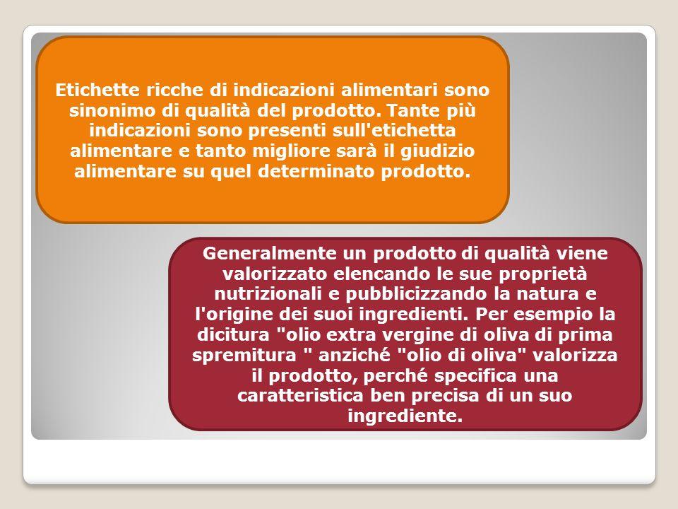 Etichette ricche di indicazioni alimentari sono sinonimo di qualità del prodotto. Tante più indicazioni sono presenti sull etichetta alimentare e tanto migliore sarà il giudizio alimentare su quel determinato prodotto.