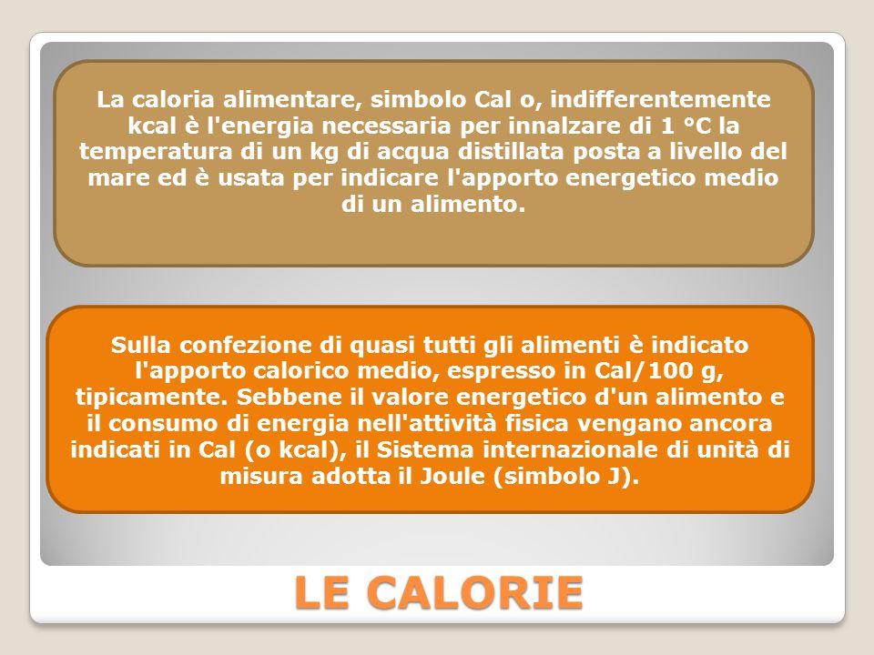 La caloria alimentare, simbolo Cal o, indifferentemente kcal è l energia necessaria per innalzare di 1 °C la temperatura di un kg di acqua distillata posta a livello del mare ed è usata per indicare l apporto energetico medio di un alimento.