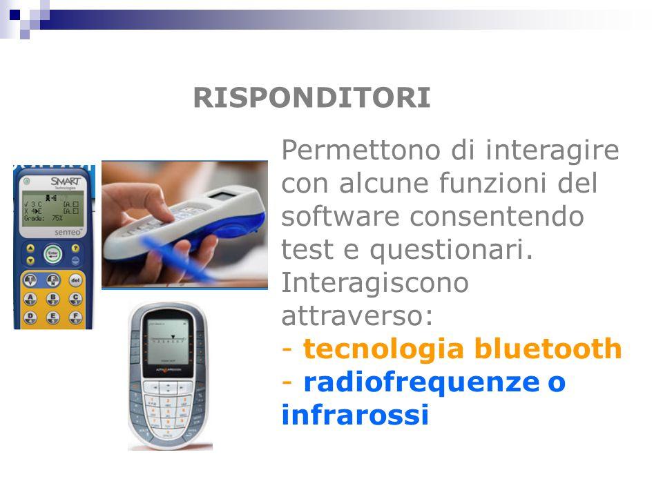 RISPONDITORI Permettono di interagire con alcune funzioni del software consentendo test e questionari.