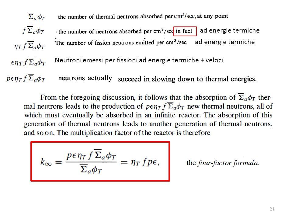 ad energie termiche ad energie termiche Neutroni emessi per fissioni ad energie termiche + veloci