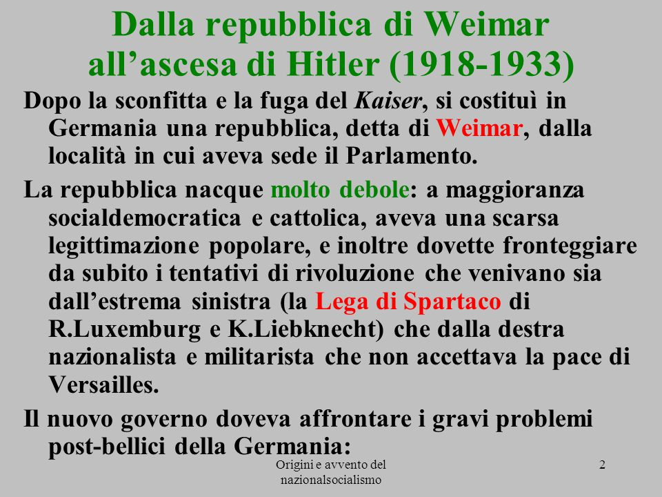 Dalla repubblica di Weimar all'ascesa di Hitler (1918-1933)