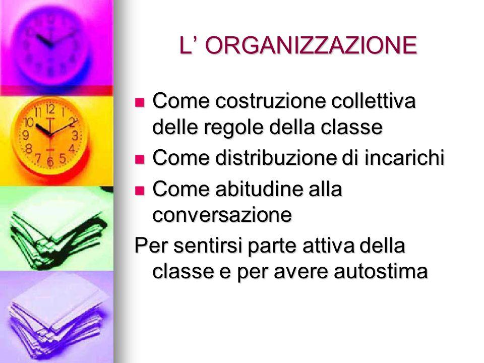 L' ORGANIZZAZIONE Come costruzione collettiva delle regole della classe. Come distribuzione di incarichi.