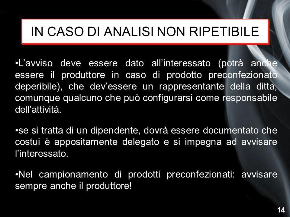 IN CASO DI ANALISI NON RIPETIBILE