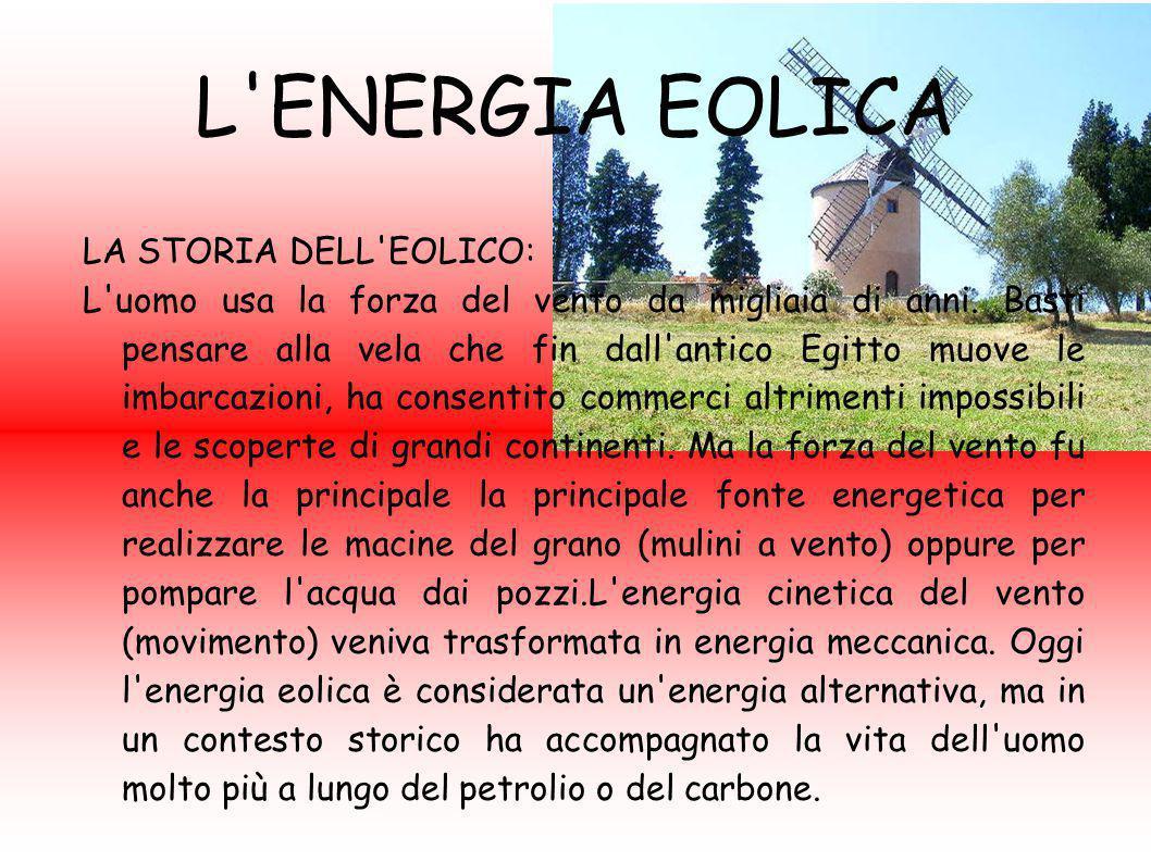 L ENERGIA EOLICA LA STORIA DELL EOLICO: