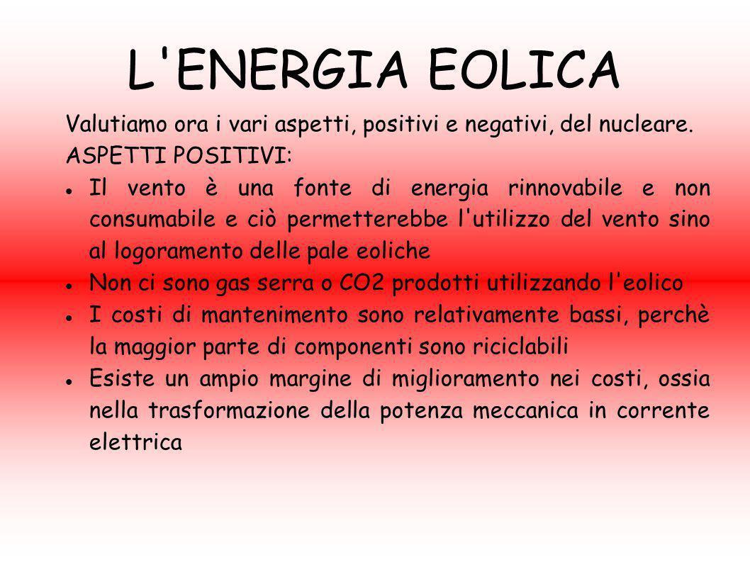 L ENERGIA EOLICA Valutiamo ora i vari aspetti, positivi e negativi, del nucleare. ASPETTI POSITIVI: