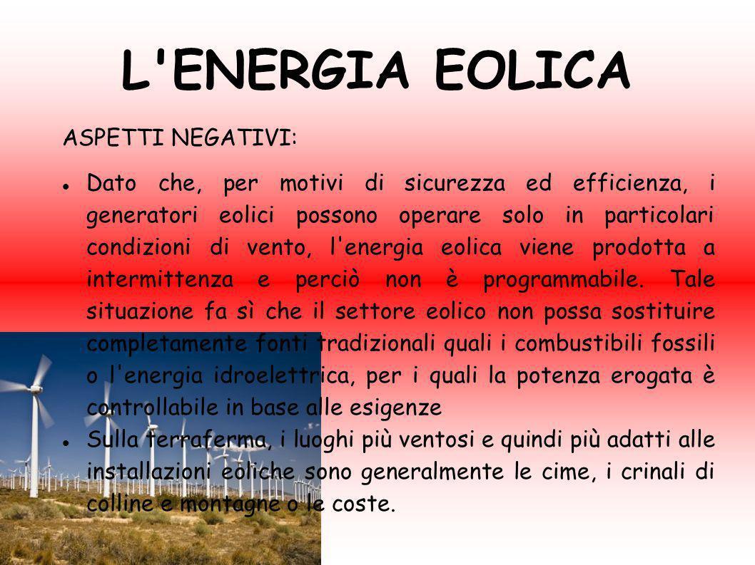 L ENERGIA EOLICA ASPETTI NEGATIVI: