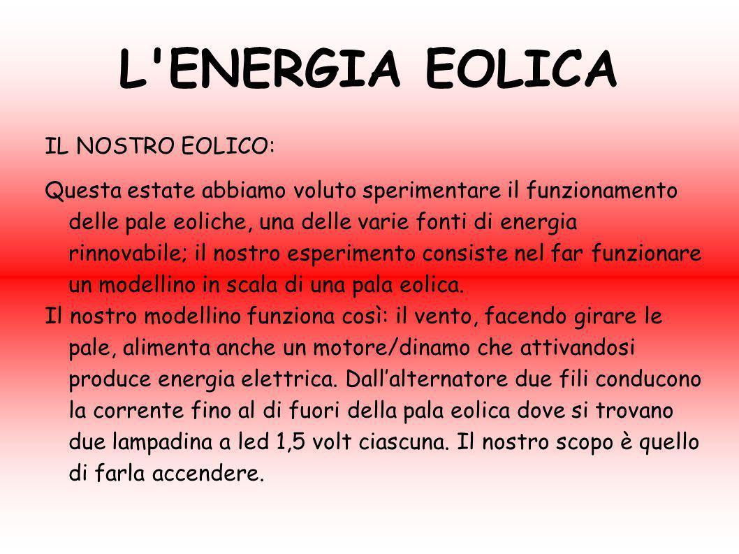 L ENERGIA EOLICA IL NOSTRO EOLICO: