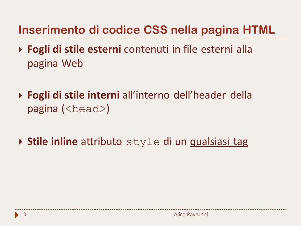 Inserimento di codice CSS nella pagina HTML