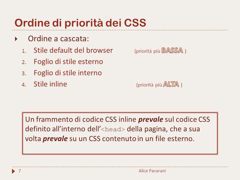 Ordine di priorità dei CSS