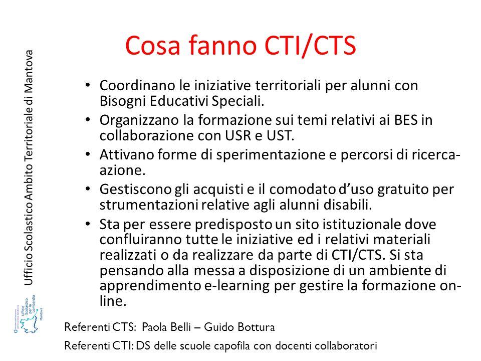 Cosa fanno CTI/CTS Coordinano le iniziative territoriali per alunni con Bisogni Educativi Speciali.
