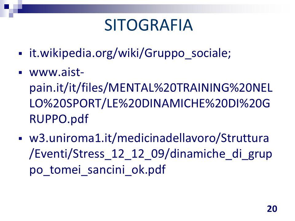 SITOGRAFIA it.wikipedia.org/wiki/Gruppo_sociale;