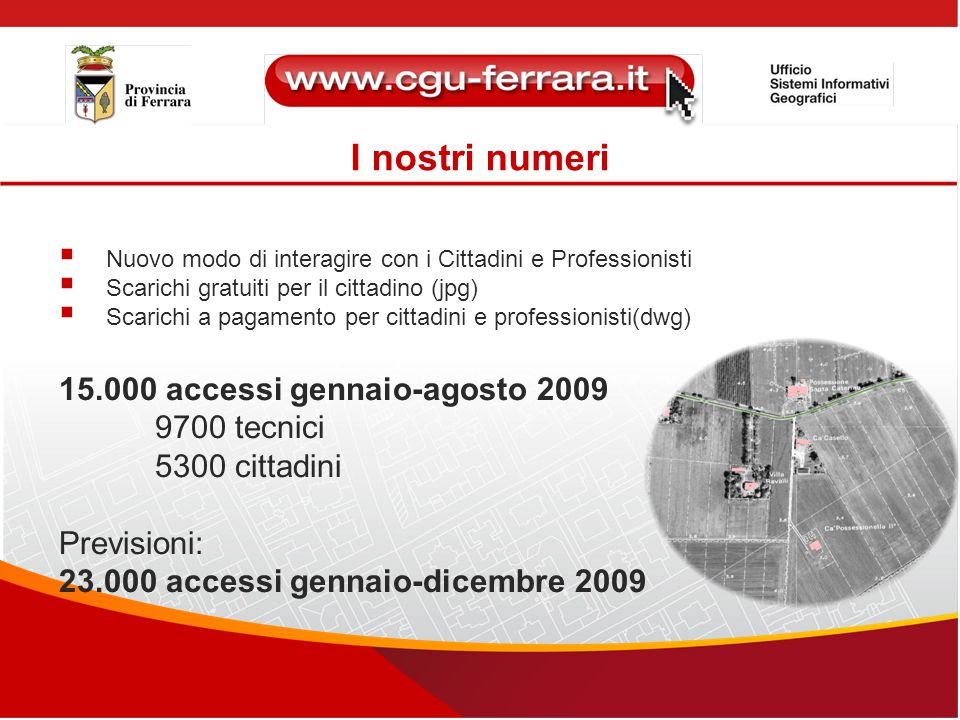 I nostri numeri 15.000 accessi gennaio-agosto 2009 9700 tecnici