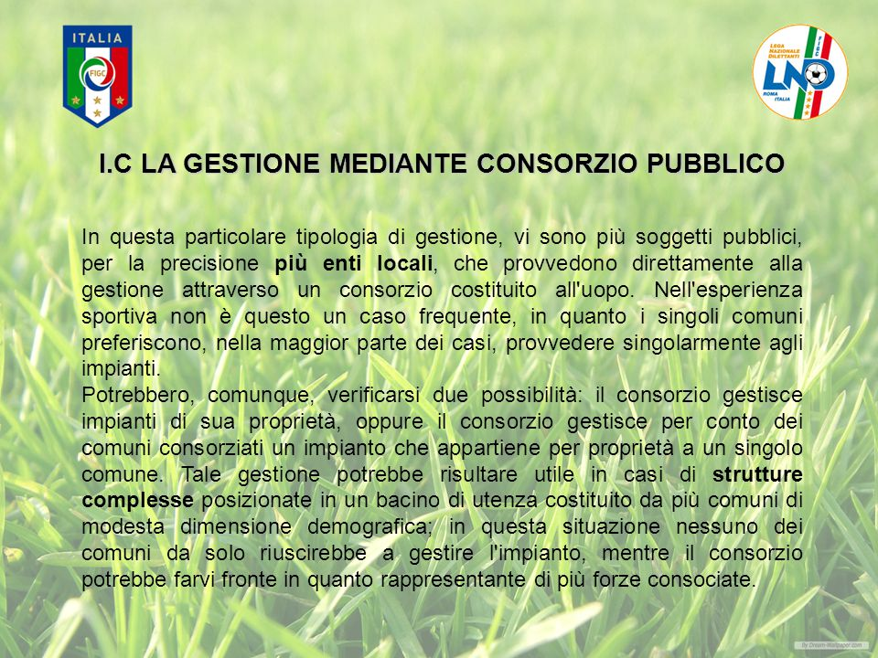 I.C LA GESTIONE MEDIANTE CONSORZIO PUBBLICO