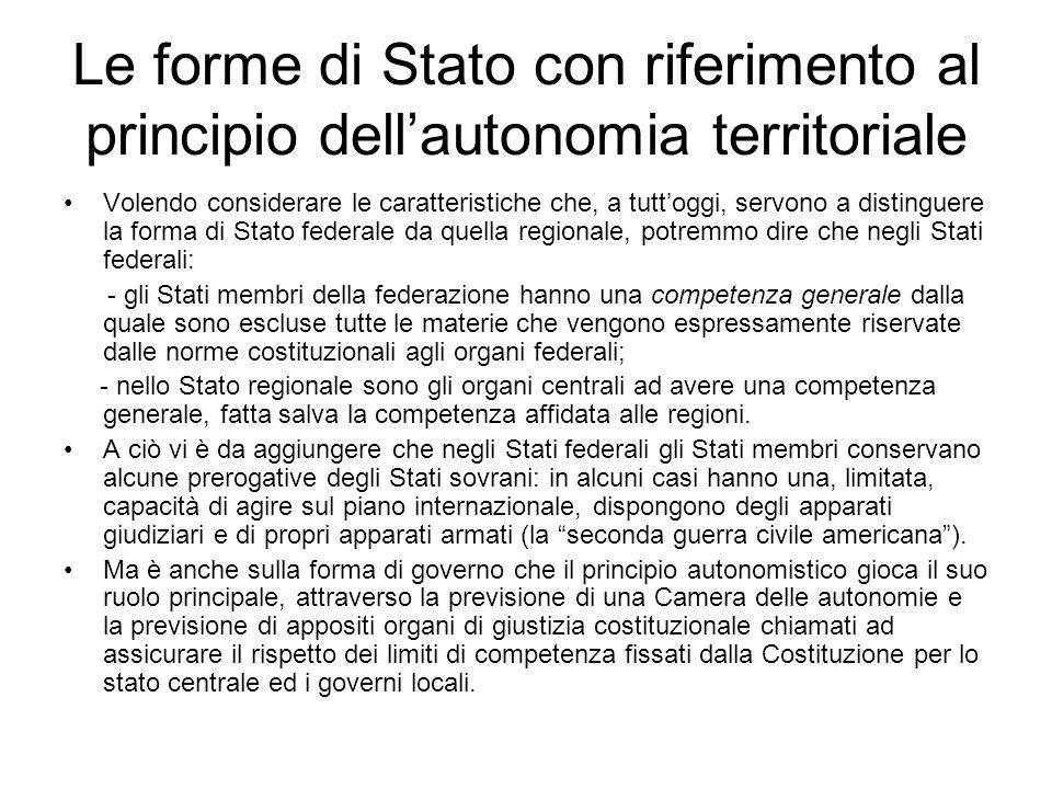 Le forme di Stato con riferimento al principio dell'autonomia territoriale
