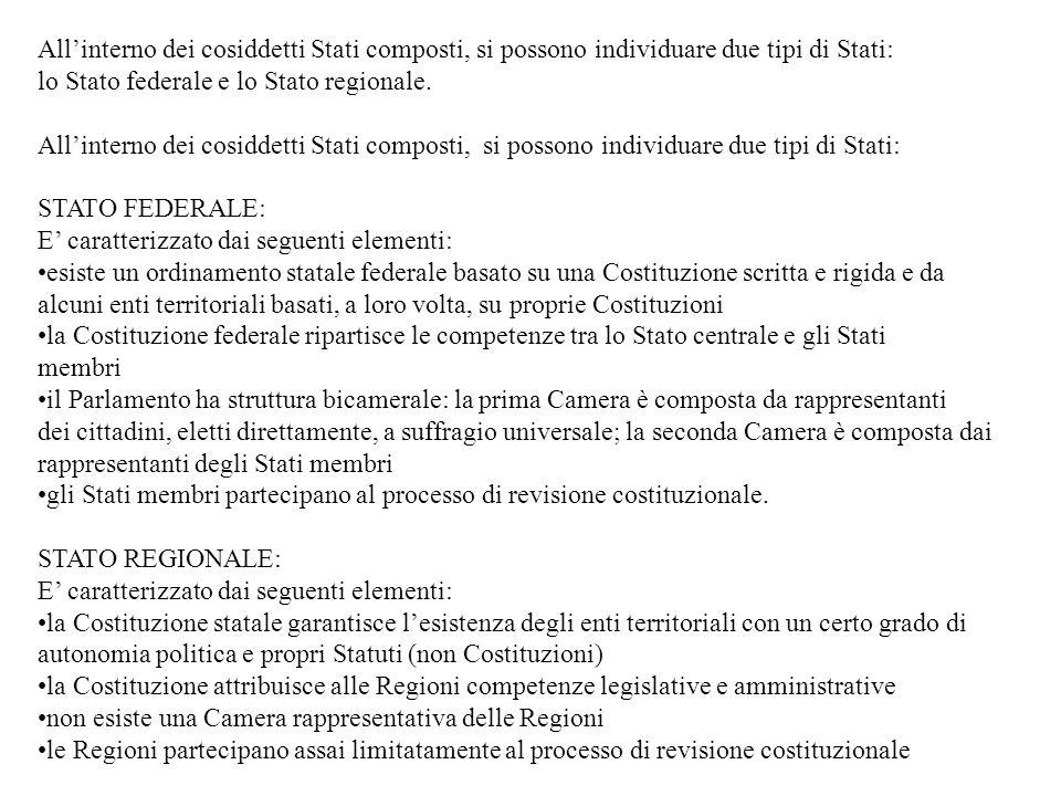All'interno dei cosiddetti Stati composti, si possono individuare due tipi di Stati: