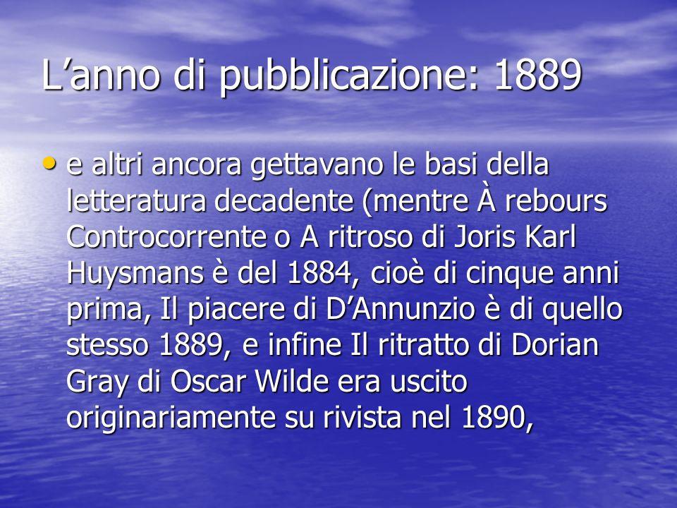 L'anno di pubblicazione: 1889