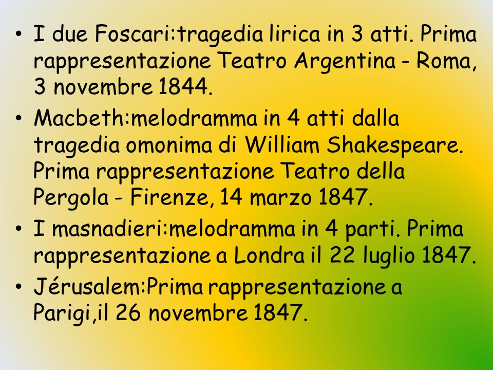 I due Foscari:tragedia lirica in 3 atti