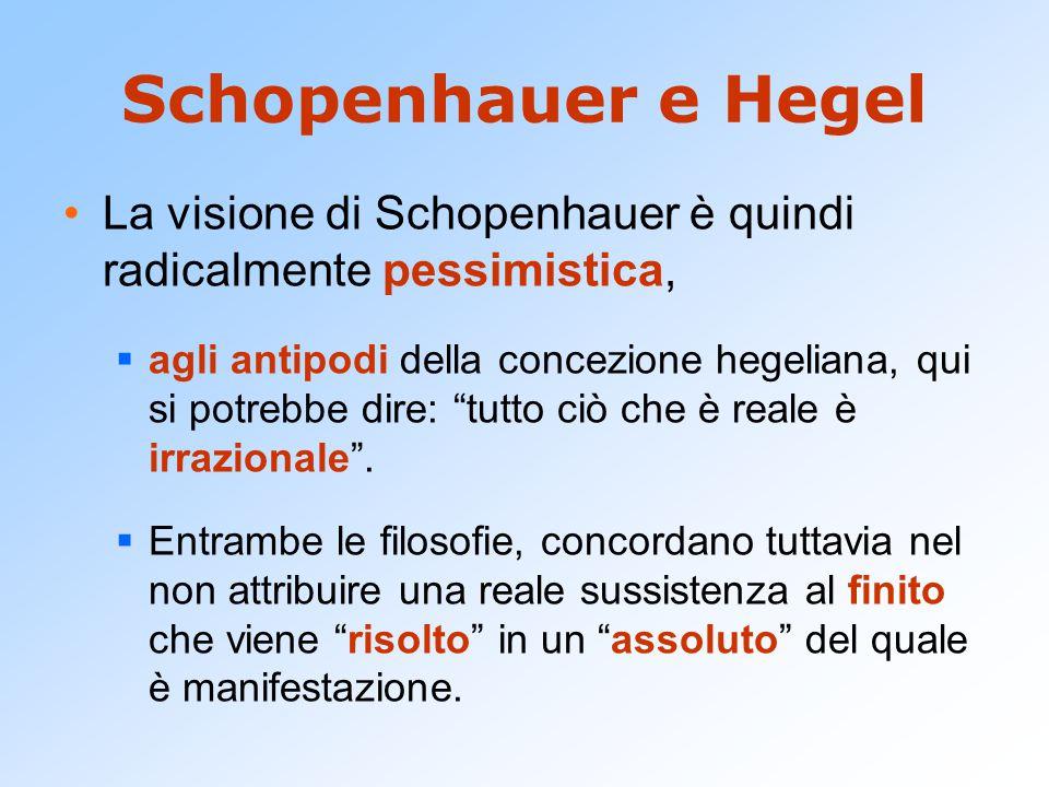 Schopenhauer e Hegel La visione di Schopenhauer è quindi radicalmente pessimistica,