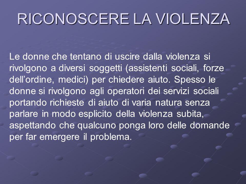 RICONOSCERE LA VIOLENZA