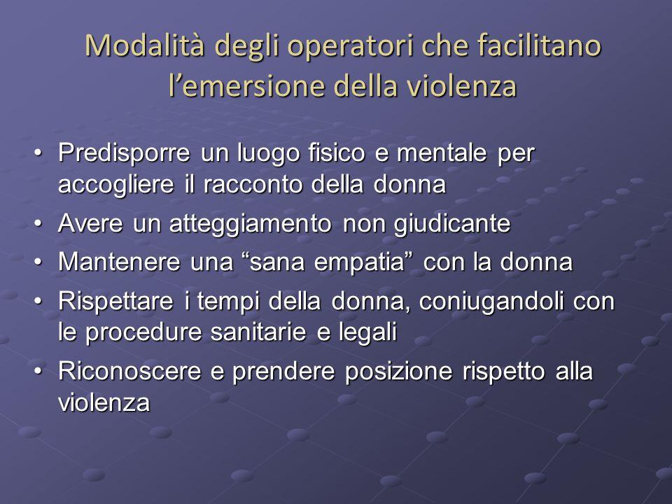 Modalità degli operatori che facilitano l'emersione della violenza