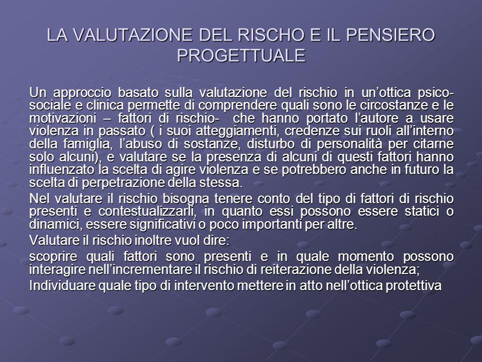 LA VALUTAZIONE DEL RISCHO E IL PENSIERO PROGETTUALE