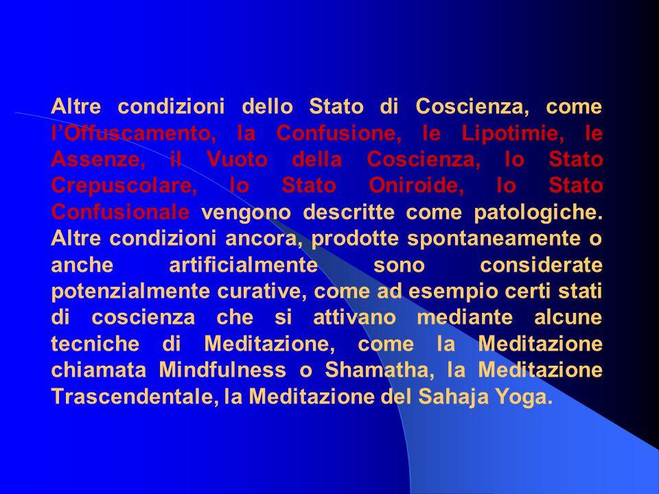Altre condizioni dello Stato di Coscienza, come l'Offuscamento, la Confusione, le Lipotimie, le Assenze, il Vuoto della Coscienza, lo Stato Crepuscolare, lo Stato Oniroide, lo Stato Confusionale vengono descritte come patologiche.