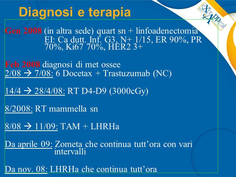 Diagnosi e terapia Gen 2008 (in altra sede) quart sn + linfoadenectomia. EI: Ca dutt. Inf. G3, N+ 1/15, ER 90%, PR 70%, Ki67 70%, HER2 3+
