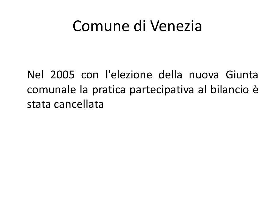 Comune di Venezia Nel 2005 con l elezione della nuova Giunta comunale la pratica partecipativa al bilancio è stata cancellata.