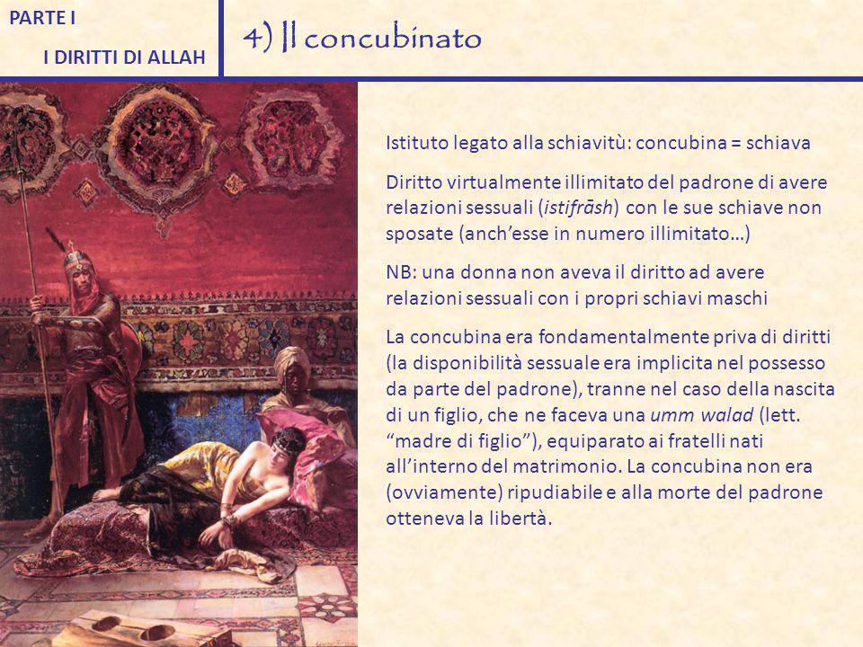 4) Il concubinato PARTE I I DIRITTI DI ALLAH