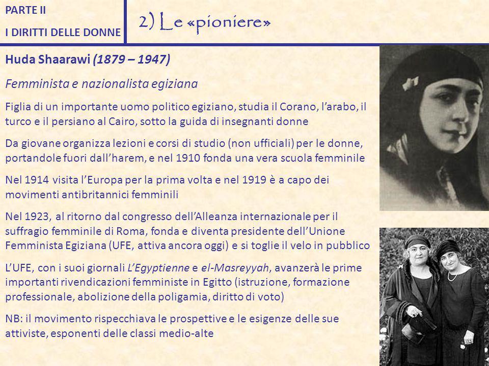 2) Le «pioniere» Huda Shaarawi (1879 – 1947)