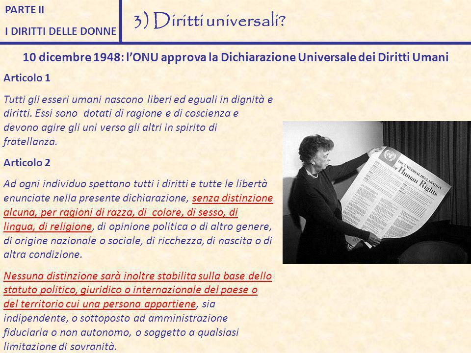 PARTE II I DIRITTI DELLE DONNE. 3) Diritti universali 10 dicembre 1948: l'ONU approva la Dichiarazione Universale dei Diritti Umani.
