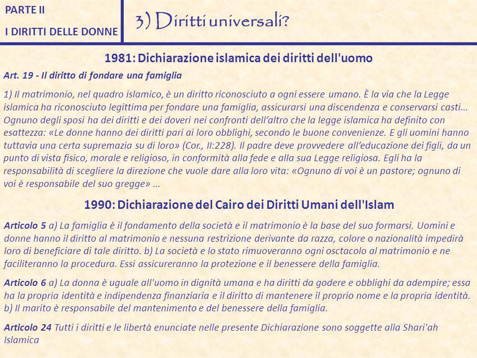 PARTE II I DIRITTI DELLE DONNE. 3) Diritti universali 1981: Dichiarazione islamica dei diritti dell uomo.