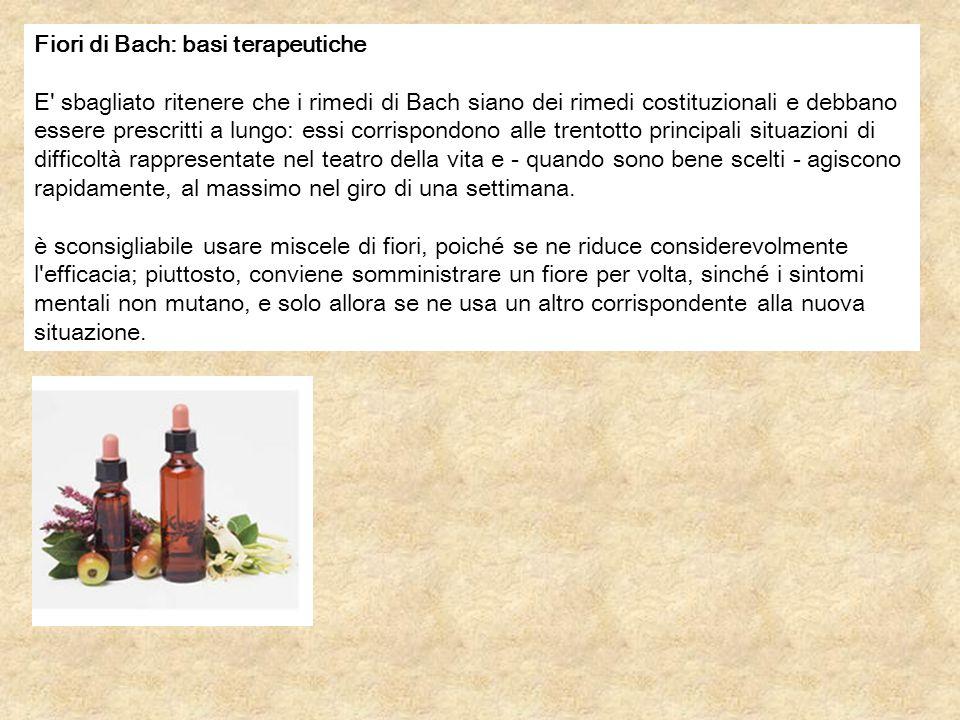 Fiori di Bach: basi terapeutiche