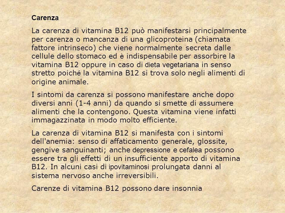Carenze di vitamina B12 possono dare insonnia