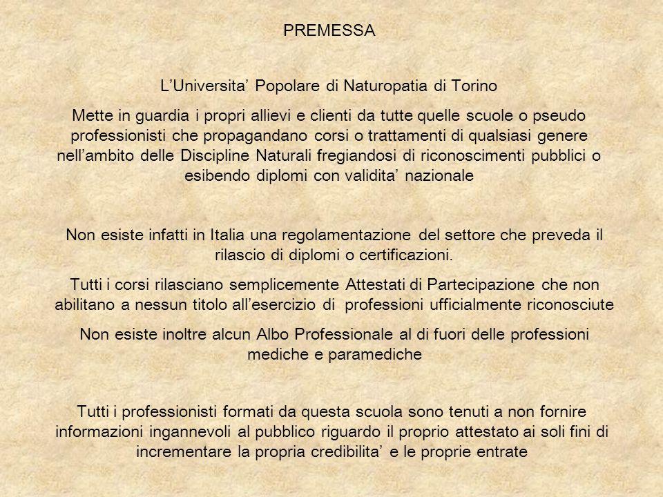 L'Universita' Popolare di Naturopatia di Torino