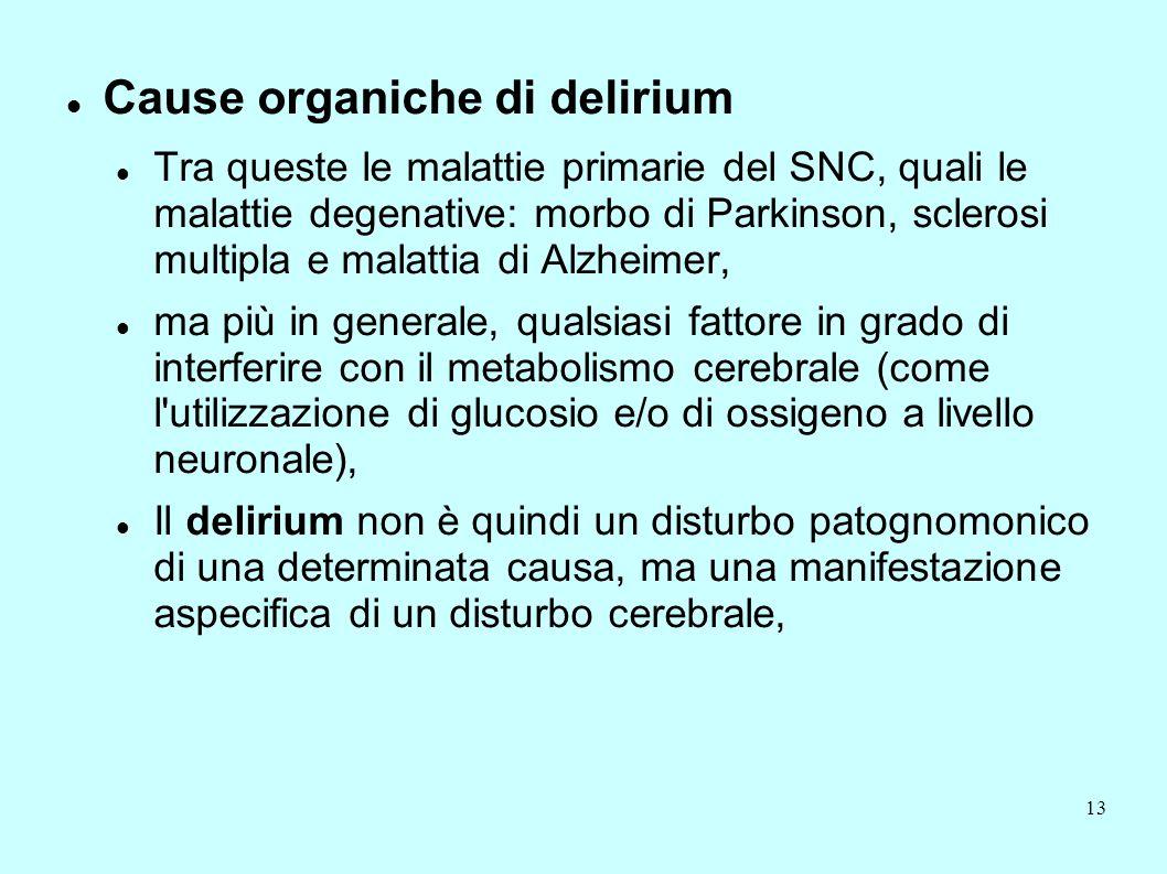 Cause organiche di delirium