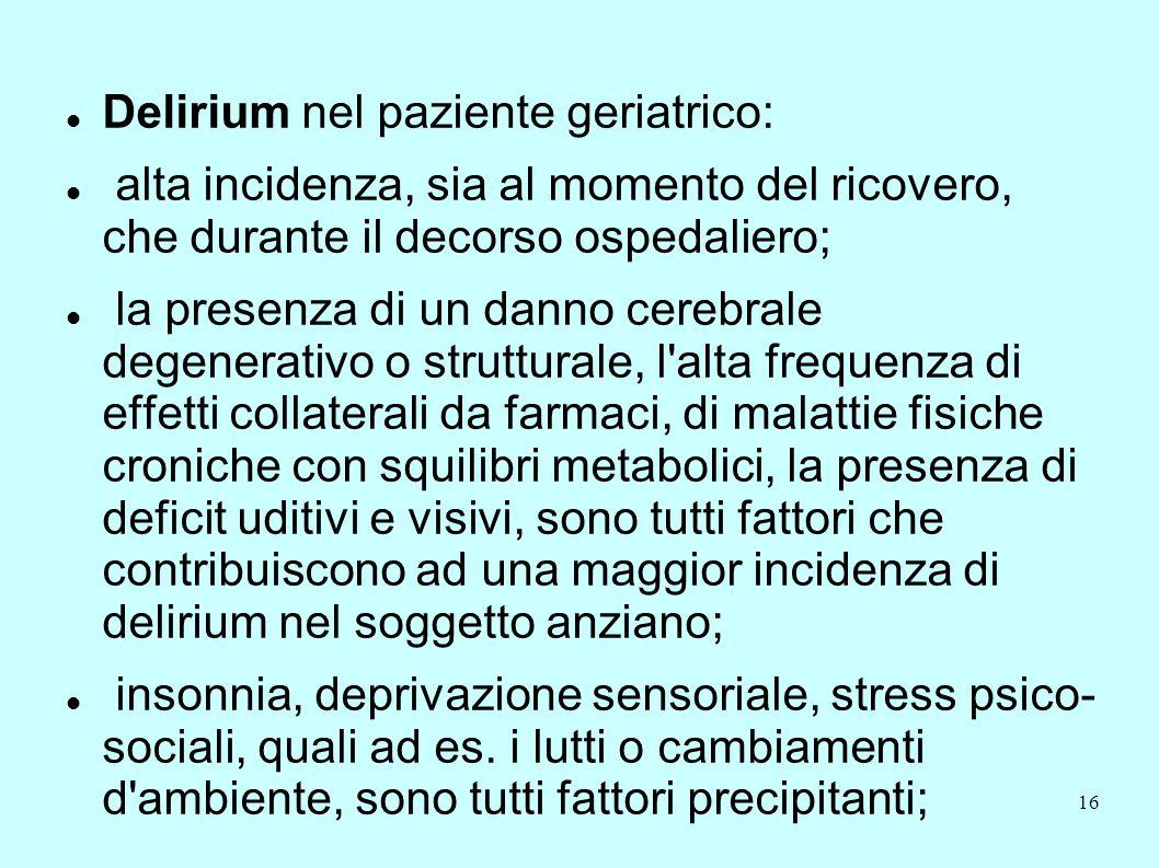 Delirium nel paziente geriatrico: