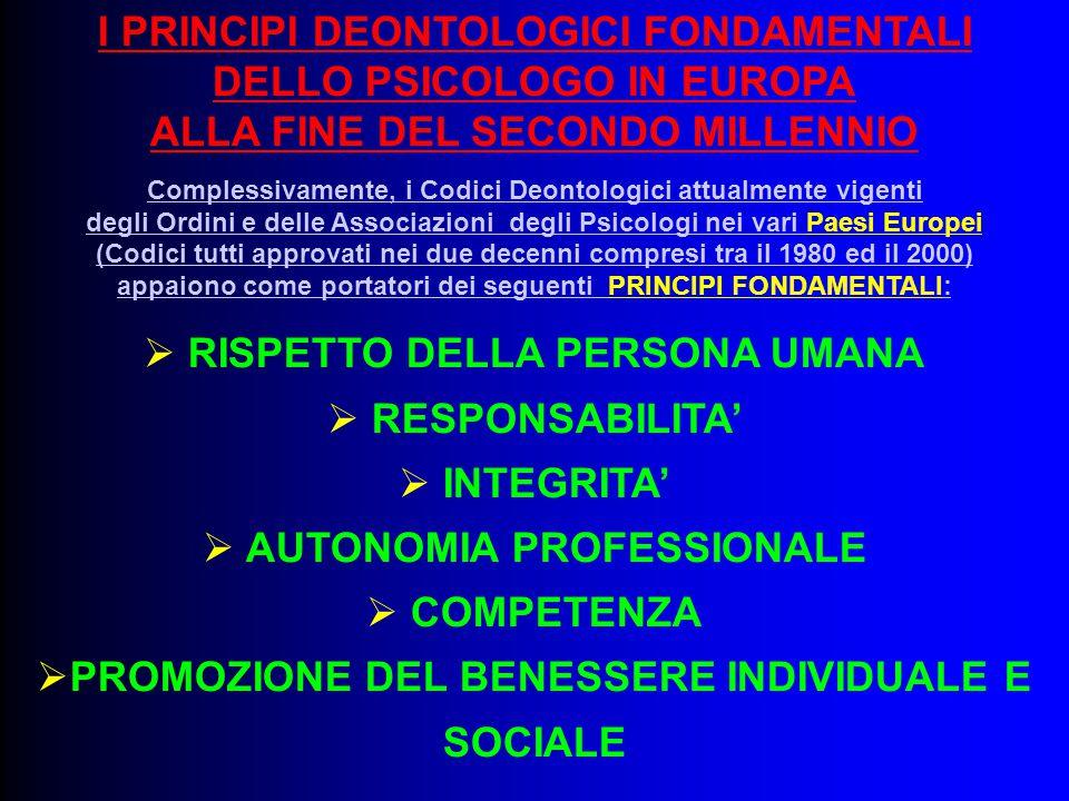 I PRINCIPI DEONTOLOGICI FONDAMENTALI DELLO PSICOLOGO IN EUROPA