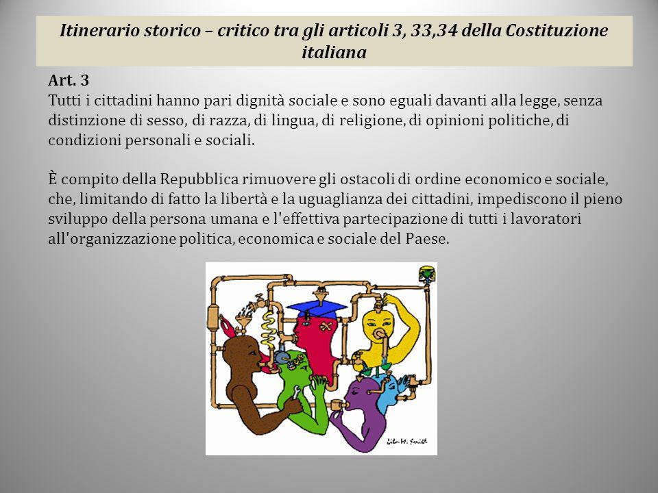 Itinerario storico – critico tra gli articoli 3, 33,34 della Costituzione italiana
