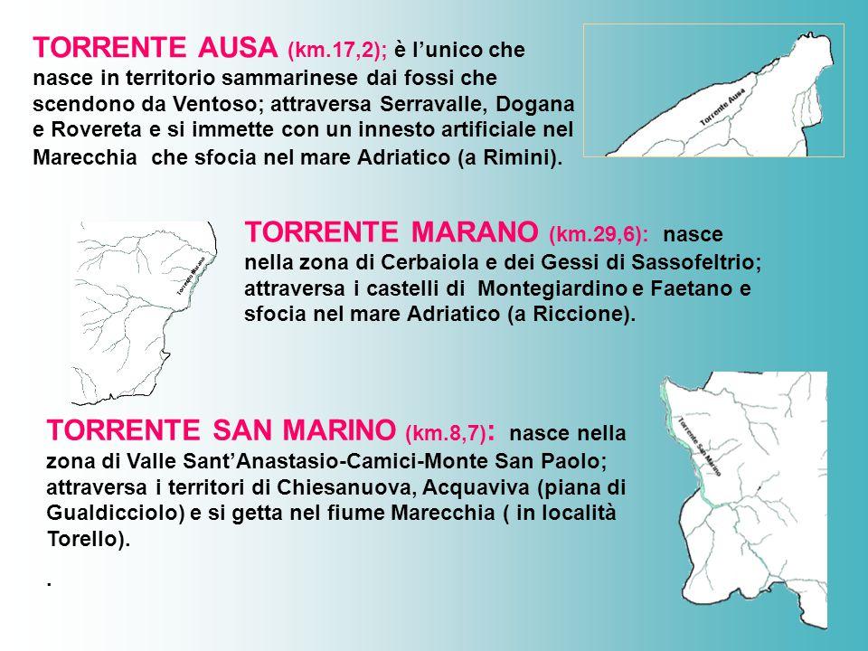 TORRENTE AUSA (km.17,2); è l'unico che nasce in territorio sammarinese dai fossi che scendono da Ventoso; attraversa Serravalle, Dogana e Rovereta e si immette con un innesto artificiale nel Marecchia che sfocia nel mare Adriatico (a Rimini).