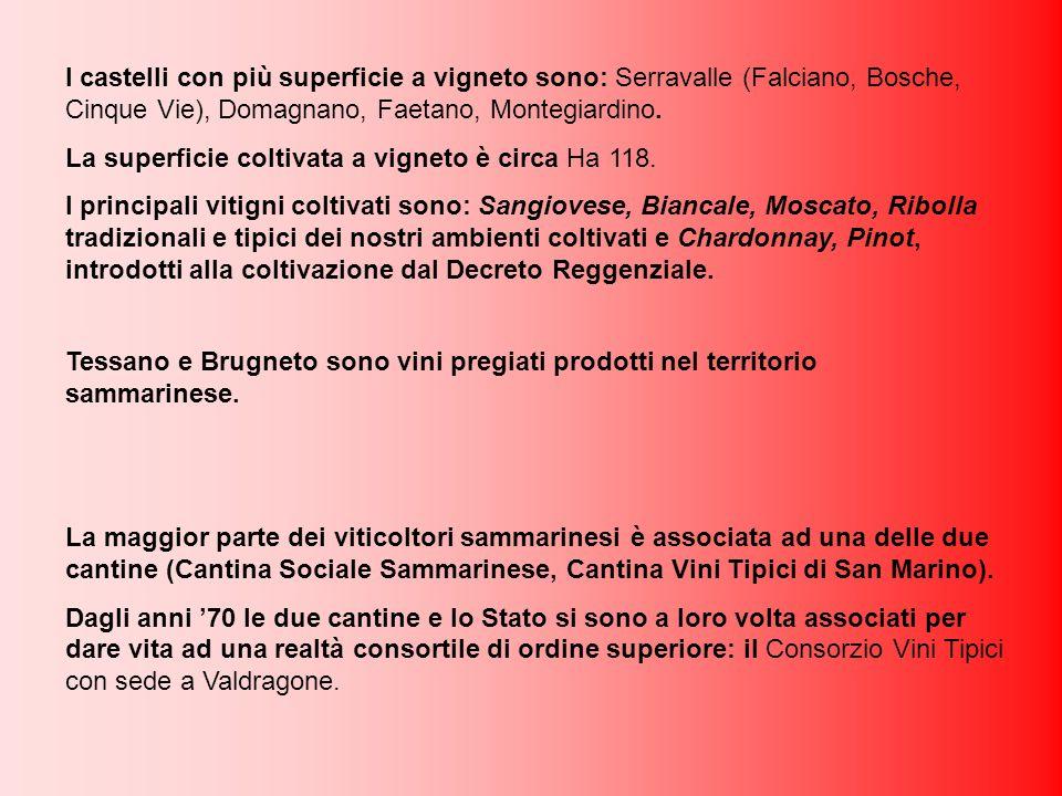 I castelli con più superficie a vigneto sono: Serravalle (Falciano, Bosche, Cinque Vie), Domagnano, Faetano, Montegiardino.