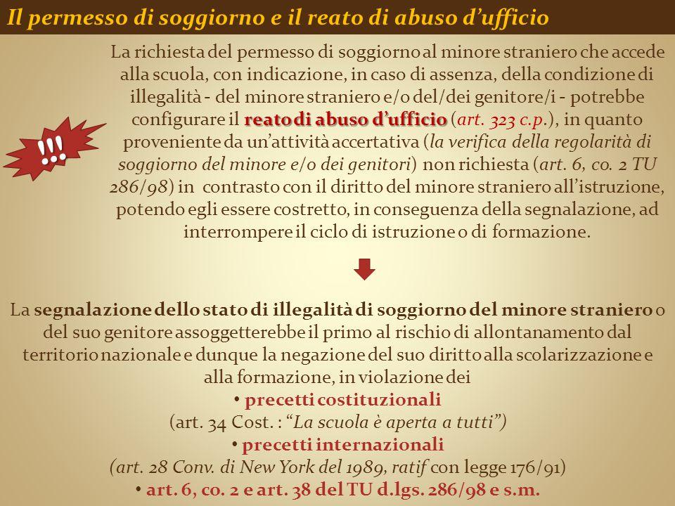 !!! Il permesso di soggiorno e il reato di abuso d'ufficio