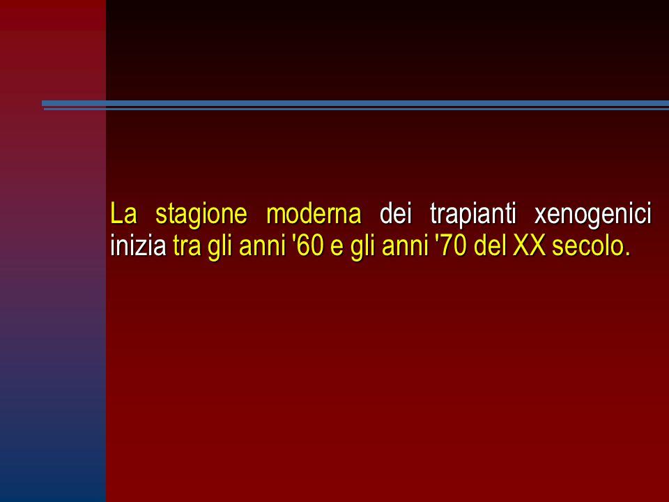 La stagione moderna dei trapianti xenogenici inizia tra gli anni 60 e gli anni 70 del XX secolo.