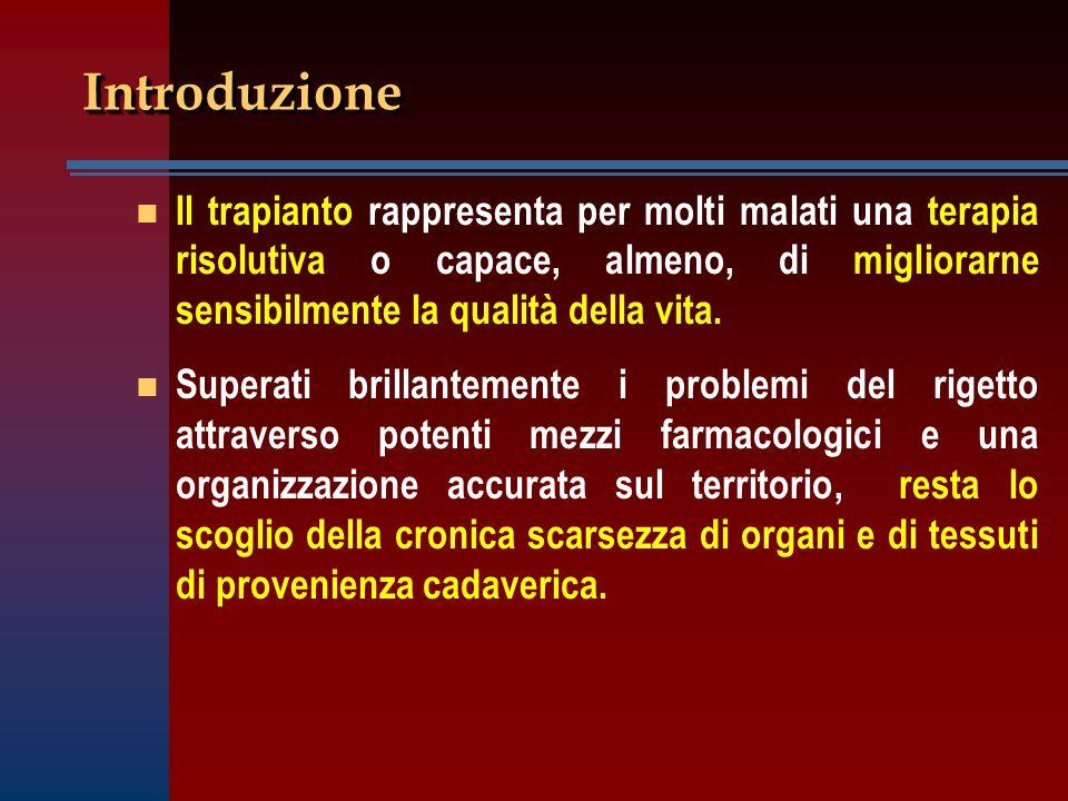 Introduzione Il trapianto rappresenta per molti malati una terapia risolutiva o capace, almeno, di migliorarne sensibilmente la qualità della vita.