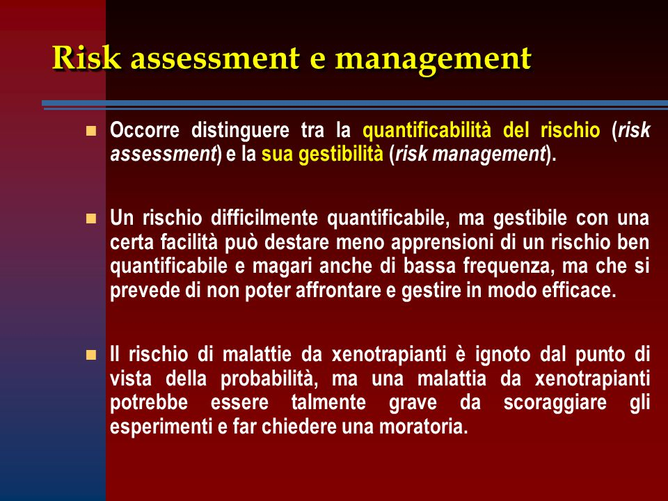 Risk assessment e management