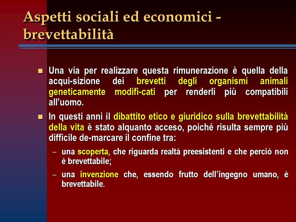 Aspetti sociali ed economici - brevettabilità