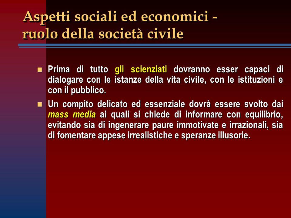 Aspetti sociali ed economici - ruolo della società civile