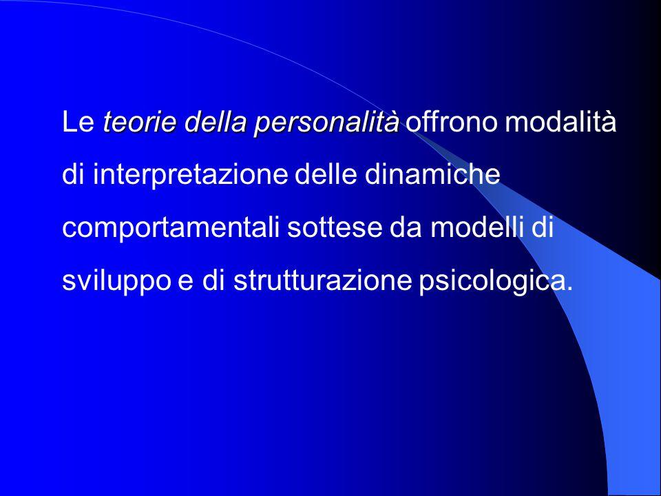 Le teorie della personalità offrono modalità di interpretazione delle dinamiche comportamentali sottese da modelli di sviluppo e di strutturazione psicologica.