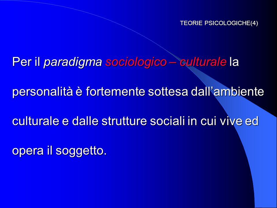 TEORIE PSICOLOGICHE(4) Per il paradigma sociologico – culturale la personalità è fortemente sottesa dall'ambiente culturale e dalle strutture sociali in cui vive ed opera il soggetto.