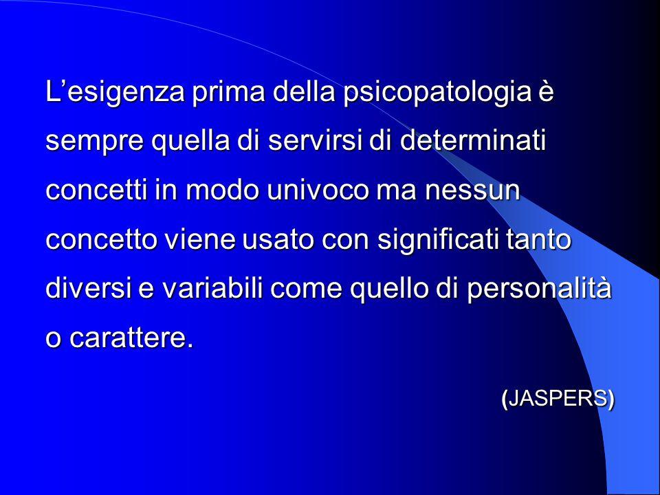 L'esigenza prima della psicopatologia è sempre quella di servirsi di determinati concetti in modo univoco ma nessun concetto viene usato con significati tanto diversi e variabili come quello di personalità o carattere.
